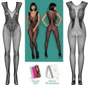 Obsessive Lingerie [ UK 6 - 12 ] Black N112 'Fabulous' Bodystocking (E26759)